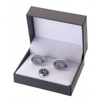 Black Band Cufflinks and Tie Tack Set